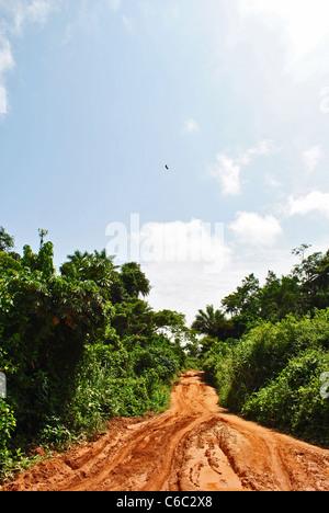 Red dirt road through the bush near Kolahun, Liberia, West Africa - Stock Photo