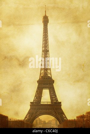 Vntage postcard (imitation) with Eiffel tower - Stock Photo