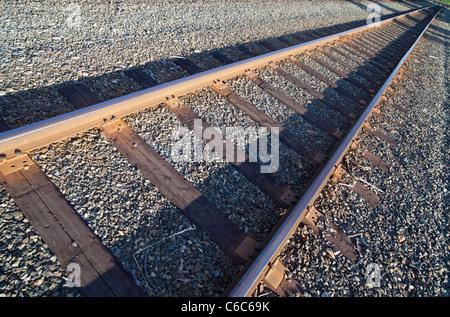 Wooden railroad sleepers - Stock Photo