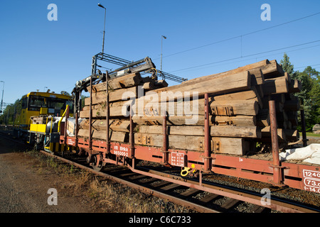 Pile Of Old Wooden Decommissioned Railroad Sleepers