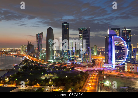 Qatar, Middle East, Arabian Peninsula, Doha, new skyline of the West Bay central financial district of Doha - Stock Photo