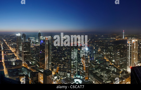 Panorama at dusk, facing west, looking over the financial district, distant view, Main Tower, Frankfurt am Main, - Stock Photo