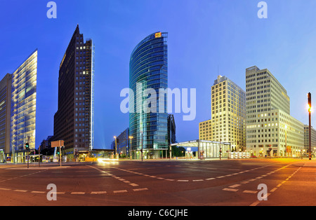 Panorama, Potsdamer Platz square, in the early morning twilight, Mitte district, Berlin, Germany, Europe - Stock Photo