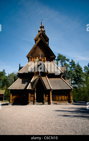 The Gol stave church (Gol stavkirke) in the Norwegian Museum of Cultural History of Oslo - Stock Photo