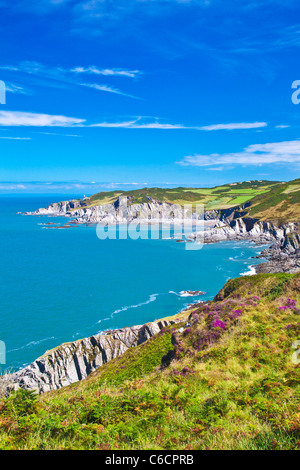 View of the North Devon coastline towards Rockham Bay and Bull Point, near Woolacombe and Morthoe, Devon, England, - Stock Photo