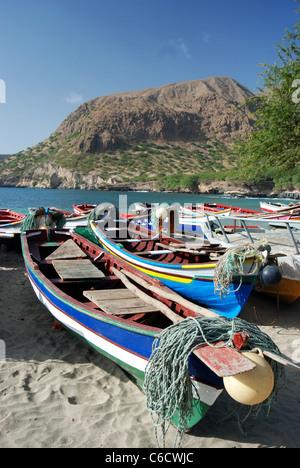 Fishing-boats on the beach of Tarrafal, Santiago Island, Cape Verde - Stock Photo