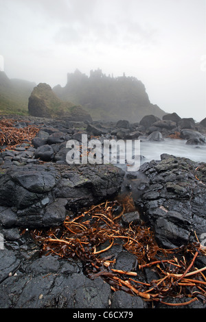 Mist of Time, Dunluce Castle captured in foggy conditions. - Stock Photo