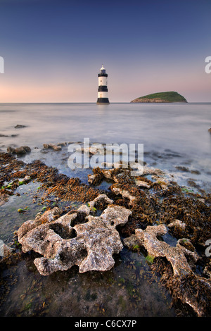 Penmon Point Lighthouse on the isle of Anglesey, Wales. - Stock Photo