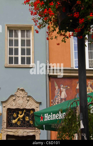 Detail of buildings in Dlugi Targ (Long Market) Gdansk Pomerania Poland EU - Stock Photo