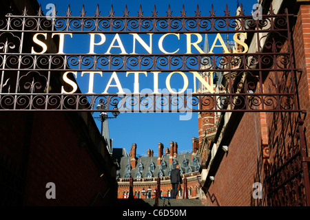 Old entrance to St Pancras Station (and St Pancras Renaissance Hotel), St Pancras, London, UK - Stock Photo
