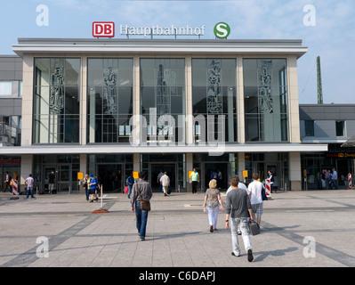 Exterior of Hauptbahnhof or main railway station in Dortmund Germany - Stock Photo