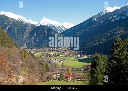 Mayrhofen, beliebter Ferienort und Marktgemeinde im Zillertal, Mayrhofen, famous and popular holiday area - Stock Photo