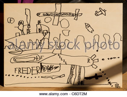 Drawing by a 6 year old child - Stock Photo