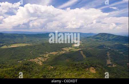 APPALACHIAN TRAIL, VIRGINIA, USA - View from McAfee Knob on Catawba Mountain, near city of Roanoke. - Stock Photo