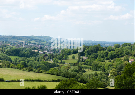 The Slad Valley near Stroud from Swift's Hill Nature Reserve, Gloucestershire, The Cotswolds, England, United Kingdom - Stock Photo