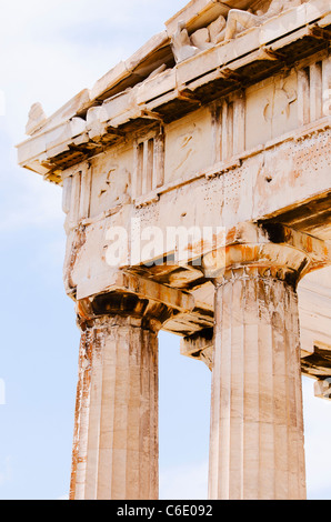 Greece, Athens, Acropolis, Doric columns of Parthenon - Stock Photo