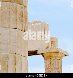 Greece, Athens, Acropolis, Doric columns of Propylaea - Stock Photo