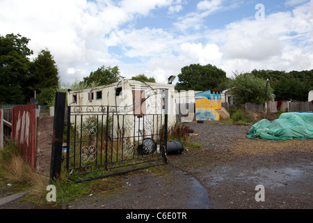 Dale Farm, on the outskirts of  Basildon, Essex, the largest Irish Traveller and Gypsy site in Europe.Photo:Jeff - Stock Photo