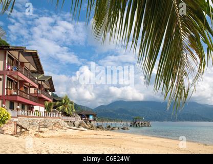 Panuba Inn Resort on the beach of Panuba, Pulau Tioman Island, Malaysia, Southeast Asia, Asia - Stock Photo
