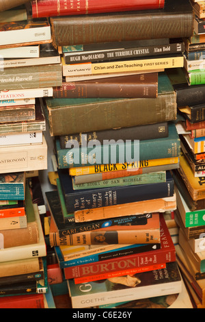 Stacks of secondhand books on many different subjects. - Stock Photo
