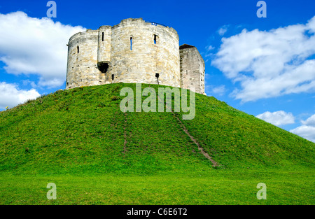 Clifford's Tower, surviving part of York Castle - Stock Photo