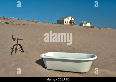 Abandoned Bathtub in the Dunes by The Buchhalters, Bookeeper or Accountants House, Kolmanskop Ghost Town near Luderitz, - Stock Photo