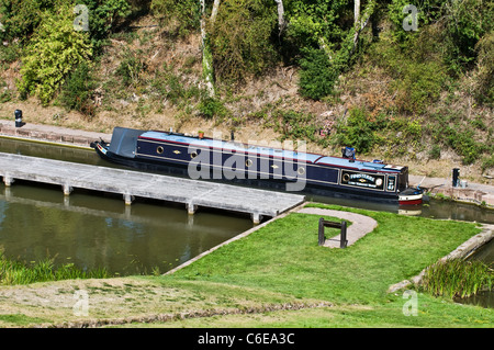 Narrowboat  Moored on the Grand Union Canal at Foxton Locks Leicestershire East Midlands Uk - Stock Photo