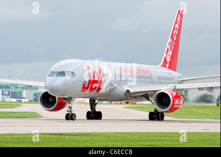 Jet2.Com aircraft preparing for take off at Manchester airport - Stock Photo