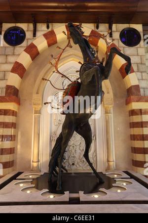 Arabian horse sculpture inside of Dubai Mall, United Arab Emirates - Stock Photo