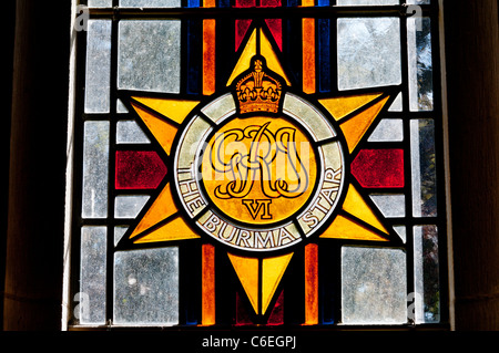 The Burma Star stained glass window, by Alan Younger, in St George's church, Arreton on the Isle of Wight - Stock Photo