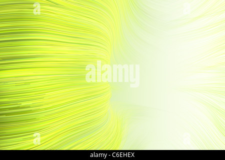 high quality rendering of wavy line background in yellow green - Stock Photo