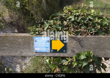 a diverted public footpath in cambridgeshire - Stock Photo
