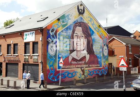 Bobby Sands mural on side of Sinn Féin office in Falls Road, Belfast - Stock Photo