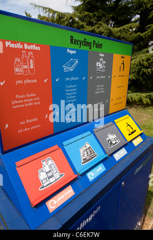 Recycling point for bottles paper cans litter - Stock Photo