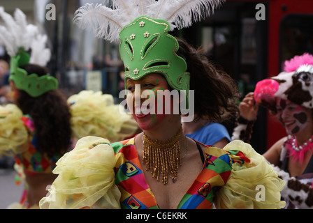 Performers take part in the Notting Hill Carnival, Europe's biggest festival. - Stock Photo