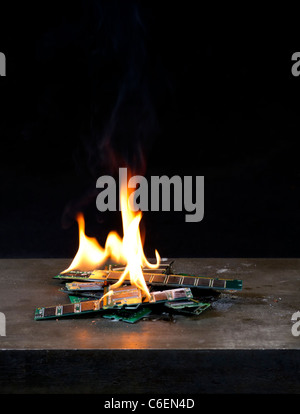 burning RAM with flames in black background - Stock Photo
