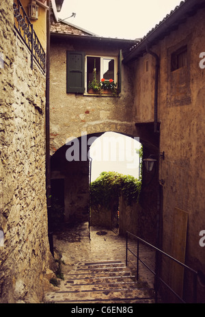 Pathway in Gandria , Ticino Switzerland - Stock Photo