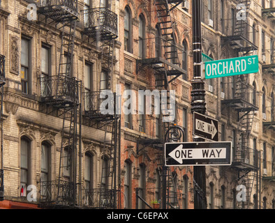 Orchard Street tenement buildings in the Lower East Side - Stock Photo