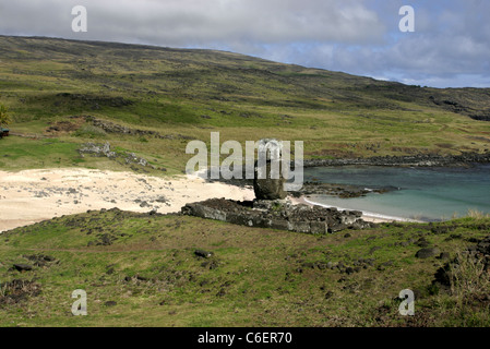 Ahu Ature Huki moai platform on Anakena Beach. Restored in 1955, Rapa Nui (Easter Island), Chile - Stock Photo
