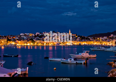 Mali Losinj, Croatia blue hour sunset panorama - Stock Photo