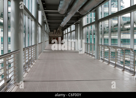 The interior of the Skybridge, a two storey structure connecting the Petronas Twin Towers, Kuala Lumpur, Malaysia.