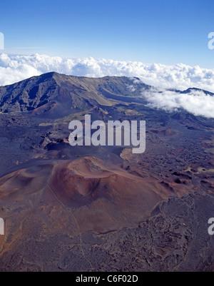 Aerial view of Haleakalā volcanic crater, Haleakalā National Park, Maui, Hawaii, United States of America - Stock Photo