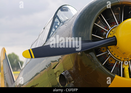 Front view of a vintage WWII Aircraft with propeller - Stock Photo