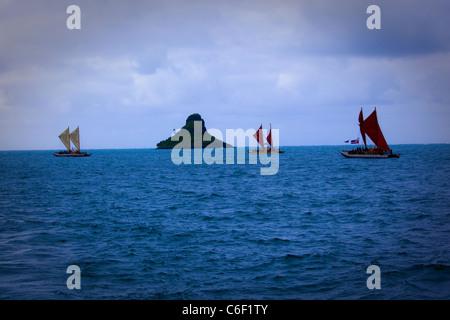 Te Mana o Te Moana 'Spirit of the Sea' 2011 voyage of 7 sailing canoes from the South Pacific. Celebration at Kualoa - Stock Photo