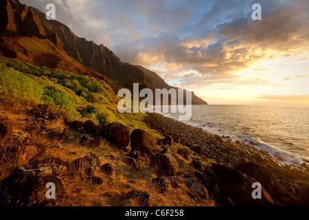 Kalalau Valley, Napali Coast, Kauai, Hawaii - Stock Photo