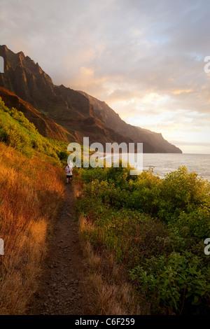 Trail , Kalalau Valley, Napali Coast, Kauai, Hawaii - Stock Photo