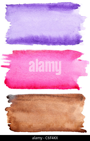 Colorful watercolor brush strokes isolated over white background - Stock Photo