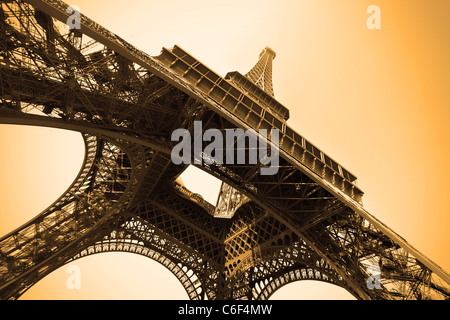 Eiffel tower sepia toned, Paris, France. - Stock Photo