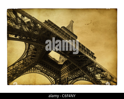 Vntage postcard with Eiffel tower isolated over white background - Stock Photo
