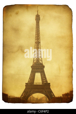 Vntage postcard (imitation) with Eiffel tower isolated over white background - Stock Photo